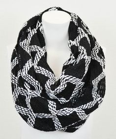 Take a look at this White & Black Diamond Infinity Scarf by Leto Collection on #zulily today!