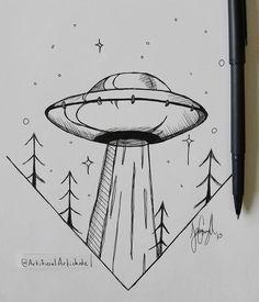 doodle art for beginners ; doodle art for beginners easy drawings Sharpie Drawings, Alien Drawings, Space Drawings, Tumblr Drawings, Cool Art Drawings, Pencil Art Drawings, Doodle Drawings, Art Drawings Sketches, Doodle Art
