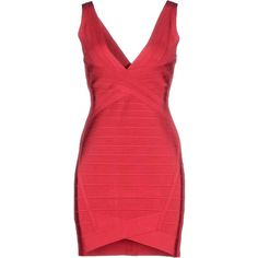 Hervé Léger By Max Azria Short Dress (12.185 ARS) ❤ liked on Polyvore featuring dresses, herve leger, red, pocket dress, short dresses, red v neck dress, red sleeveless dress and mini dress