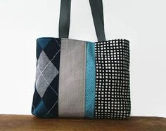 Everyday Tote Bag from Repurposed Materials, Upcycled Argyle Sweater, Gray Denim, Checkered Dress and Turquoise Polka Dot Skirt, Small Tote