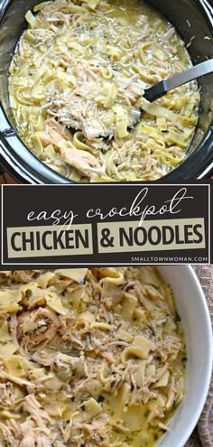 Crockpot Chicken and Noodles is perfect for busy weeknights! The whole family can enjoy this recipe that can be in the slow cooker in just 10 minutes. Not only is this filling and comforting crockpot meal kid-friendly, but you can also spice it up with some add-ins! Slow Cooker Recipes, Crockpot Recipes, Cooking Recipes, Chicken Recipes, Amish Recipes, Yummy Recipes, Easy Family Meals, Easy Meals, Weeknight Meals