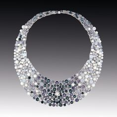"Chanel Joaillerie ""Perle de Rosée"" necklace in white gold, set with diamond, black and grey spinels, moon stones and pearls. Contrastes de Chanel collection"