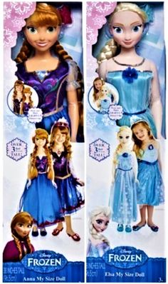Disney Frozen My Size Elsa and Anna Set of Dolls. Anna And Elsa Disney Frozen My Size Dolls Limited Edition Baby Dolls For Kids, Little Girl Toys, Baby Girl Toys, Toys For Girls, Kids Toys, Disney Princess Toys, Disney Dolls, Elsa And Anna Dolls, Elsa Anna