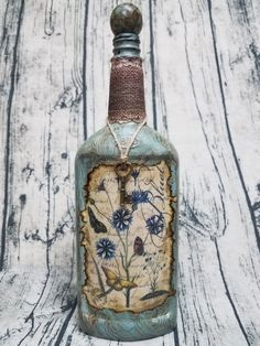 Decorated liquor bottle painted/embellished by BewitchingBottles