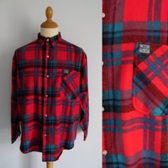 Mens red plaid checked shirt brushed flannel by FrayedWithLove