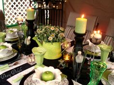 Green Watering Can Centerpiece by dining delight, via Flickr