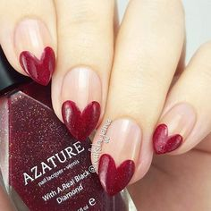 Valentine's Day Nail Art - Red Heart Tip Nails