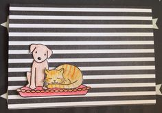 Card with striped background and cat and dog from Avery Elle's Furry Friends.
