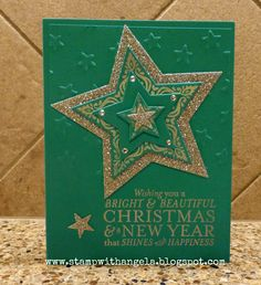 Stamp With Angela: Bright and Beautiful Christmas Card, Bright and Beautiful, Stampin' Up!, stars framelits