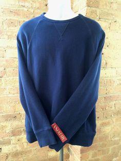 NEW Men's MERONA SWEATER BLUE LARGE 100% COTTON LONG SLEEVE CREWNECK LS NWT