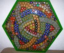 Celtic look bottle cap table top design