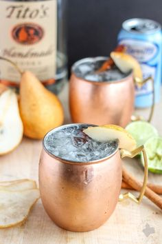 The perfect fall cocktail, this spiced Pear Moscow Mule will have you enjoying the flavors of Autumn sip after sip.