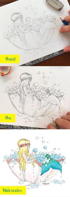Painting Steps Mermaid in the bath artwork