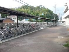 Bicycles at Himeji High School. Japan