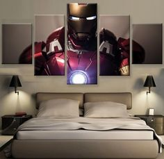Picture Modular Painting Modern Prints 5 Panel Iron Man Landscape Wall Art For Living Room Home Decor Artwork Canvas Prints YGYT Avengers Room, Marvel Room, Marvel Comics, Art Painting Images, Art Paintings For Sale, Star Painting, Living Room Art, Living Room Modern, Marvel Bedroom Decor