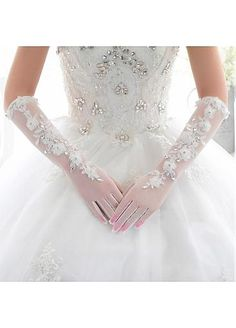 In Stock Lace White Elbow Length Wedding Gloves With Flowers