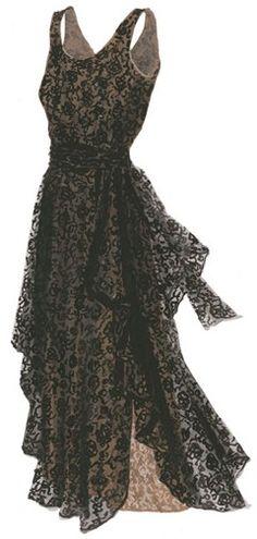 1930s Vintage Black Lace Dress