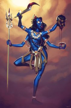 This is my entry for this months Character Design Challenge. I depicted the goddess Kali after slaying the demon Raktabija. Kali, the Ego Slayer Durga Ji, Saraswati Goddess, Kali Goddess, Goddess Art, Kali Tattoo, Mother Kali, Kali Mata, Apocalypse Art, Lord Shiva Family