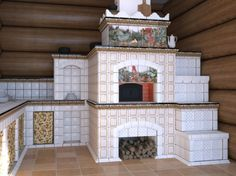 A more modern and tiled version of the Russian stove.