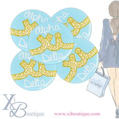 Alpha Xi Delta gold, light blue & white swirls buttons!! Love these for bid day gifts, big / lil gifts, or to wear around campus for PR!! Only at Xi Boutique!