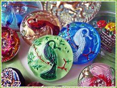 Various Czech glass buttons I sell #button #buttons #glass #czechglass #czechglassbuttons #green #blue #brown #pink #beading #crafting #craft #handmade #purple