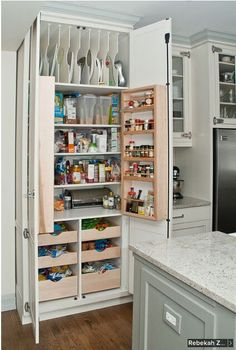 New Kitchen Hacks Organization Diy Cupboards Ideas Kitchen Pantry Cupboard, Kitchen Pantry Design, Kitchen Organization, Kitchen Storage, Organization Ideas, Storage Ideas, Organized Kitchen, Pantry Diy, Pantry Makeover