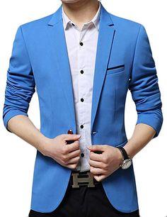 db6e3dbe1b9 Oberora Mens Lapel One Button Slim Fit Casual Suit Blazer Jacket Coat