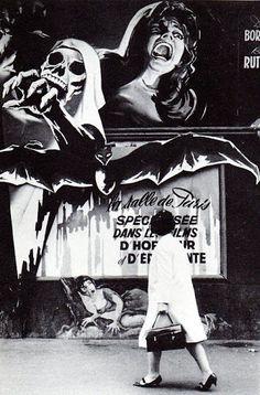walking past a horror film billboard in France-1960′s