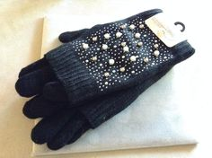 35.63$  Buy here - http://viwao.justgood.pw/vig/item.php?t=5rhwdv55354 - New Fashion Accessories Gloves Black With Pearls Metal Studs One Size Fits All