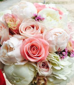 Light pink Peonies, white #Peonies, #roses beautiful #bridal bouquet...Check us out!!! #flawless Weddings and Events VI #stthomaswedding #stthomasweddingplanner #beachweddingsetup #beachweddings #flawlessweddingsandeventvi #cruiseshipweddings