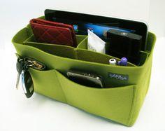 M3. Yellow green  felt bag organizer  medium size W by samorga
