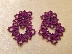 orecchini handmade in Italy - ricamo chiacchierino ad ago - Tatting needle Ankars technique - http://www.alittlemarket.it/boutique/lineanove-2230075.html