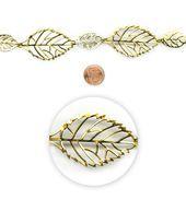 "Blue Moon Beads 14"" Strand, Metal Connectors, Filigree Leaf Gold"