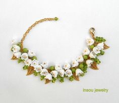 Lily of the valley bracelet  Handmade jewelry by insoujewelry