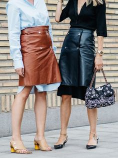 Oversized Shirt And Leather Skirt Style