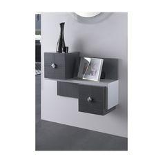recibidor con espejo y mueble con estantera y cajones varios colores disponibles