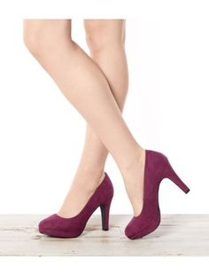 Rich Purple (Purple) Wide Fit Purple Suedette Court Shoes  | 268407554 | New Look