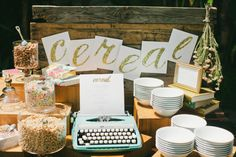 Cereal table for this brunch wedding! http://www.stylemepretty.com/2014/10/02/whimsical-brunch-wedding-in-downtown-los-angeles/ | Photography: Onelove Photography - http://www.onelove-photo.com/