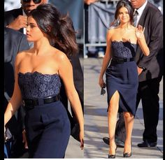 Selena Gomez in blue navy