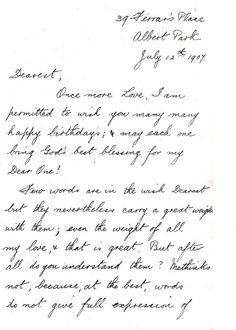 a message of love and birthday wishes a love letter from john fleming to elfrida begg four years before their marriage through a a birthday message