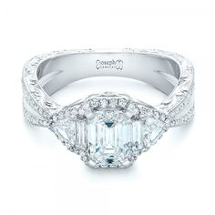 Custom Radiant Baguette Trillion Diamond Halo Split Shank Engagement Ring #JosephJewelry Seattle Bellevue
