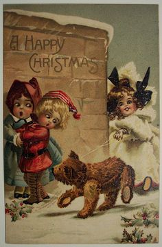 """Girl walking her Teddy Bear"".... Vintage Christmas Postcard ,c1910"