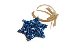 Blue beaded snowflake Christmas decoration by BramalfieBeadsetc, £5.00 http://www.ecrafty.com/casearch.aspx?SearchTerm=snowflake