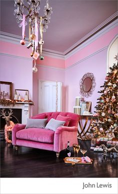 Make a statement this Christmas with the John Lewis Ostravia collection. Add flamboyant flourishes with opulent golds to pretty sugared pastels. Introduce kitsch touches to your decor with pug baubles, sequinned dachshunds, rose gold touches and crushed pink velvet.