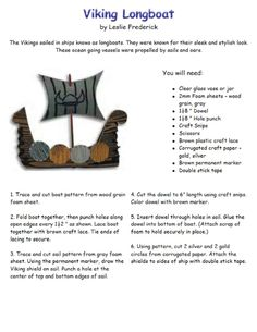 Viking Longboat craft. I'm going to do with construction paper and skewers. Free for me!