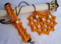 Elegante y romantico conjunto de colgante collar y por DIDIcrochet,