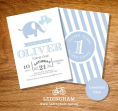 Elephant Baby Shower, Christening or Birthday Party Invitations (Personalised DIY Printables) Elephant Party, Elephant Birthday, Baby Boy Birthday, Baby Elephant, 1st Birthday Party Invitations, 4th Birthday Parties, Christening, First Birthdays, Party Time