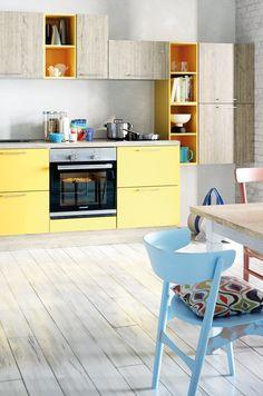 kuchenfronten in strahlendem gelb passen toll zum malibu style strahler kuche co kuchen