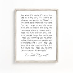 F Scott Fitzgerald Wall Art For What It's Worth Quote | Etsy