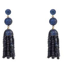 Women's Earrings by Latelita London Tassel Ball Earrings with Iolite,... (£415) ❤ liked on Polyvore featuring jewelry, earrings, blue, blue sapphire earrings, blue earrings, pave earrings, cz earrings and blue hoop earrings